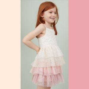 H&M Kids Glittery Tulle Ruffle Dress